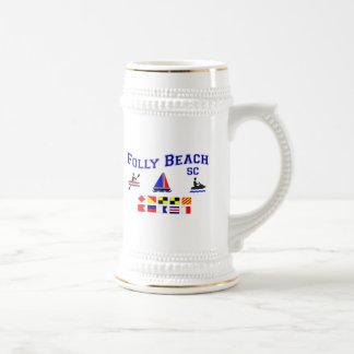 Folly Beach SC Signal Flags Beer Stein