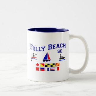 Folly Beach SC Signal Flags Two-Tone Coffee Mug
