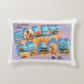 Folly Beach South Carolina SC Old Vintage Postcard Accent Pillow