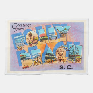 Folly Beach South Carolina SC Old Vintage Postcard Hand Towel