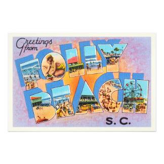 Folly Beach South Carolina SC Old Vintage Postcard Photo Print