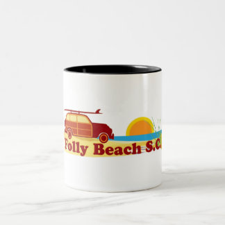 Folly Beach. Two-Tone Coffee Mug
