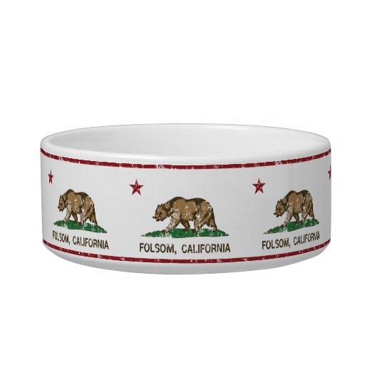 folsom de la bandera de California apenado Tazón Para Agua Para Gatos