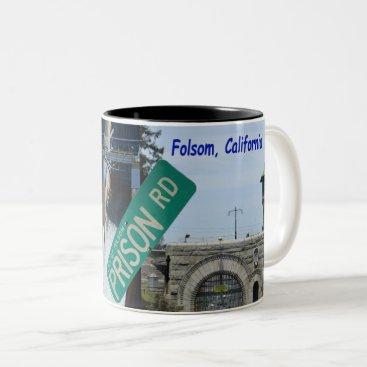 USA Themed Folsom Icon: Folsom Dam and Prison 1 Two-Tone Coffee Mug
