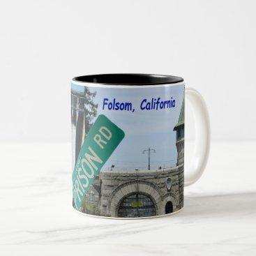 USA Themed Folsom Icon: Folsom Dam and Prison 2 Two-Tone Coffee Mug