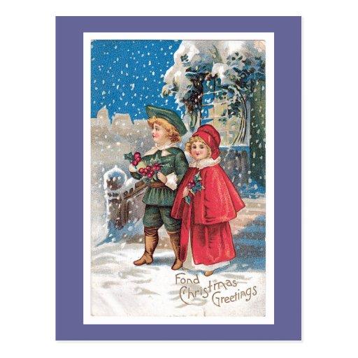 Fond Christmas Greeting Vintage Card Postcard