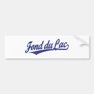 Fond du Lac script logo in blue Car Bumper Sticker