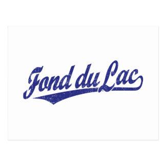 Fond du Lac script logo in blue Postcard