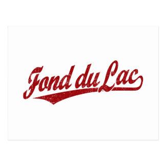 Fond du Lac script logo in red Postcard