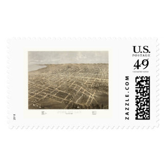 Fond Du Lac, WI Panoramic Map - 1867 Postage Stamp