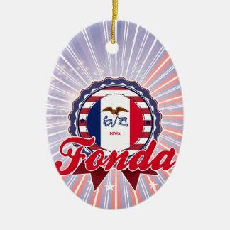 Fonda, IA Double-Sided Oval Ceramic Christmas Ornament