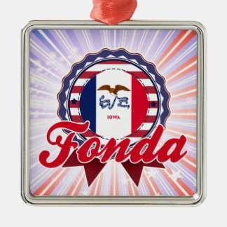 Fonda, IA Square Metal Christmas Ornament