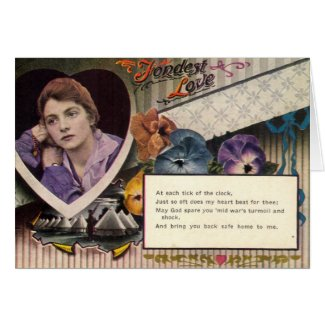 Fondest Love and Longing Military, Vintage 1918 card