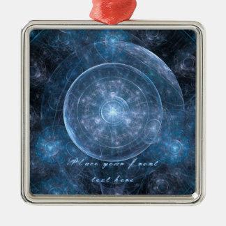 Fondo 001 del cosmos adorno navideño cuadrado de metal