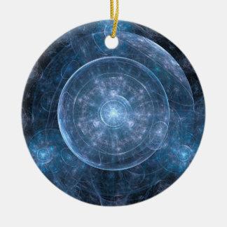Fondo 001 del cosmos adorno navideño redondo de cerámica