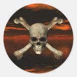 Fondo 1 del cráneo y del cielo de la bandera pegatina redonda