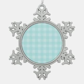 Fondo a cuadros del modelo de la guinga azul retra adorno de peltre en forma de copo de nieve
