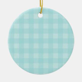 Fondo a cuadros del modelo de la guinga azul retra adorno navideño redondo de cerámica
