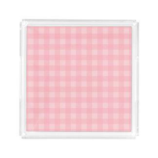 Fondo a cuadros del modelo de la guinga rosada bandeja cuadrada