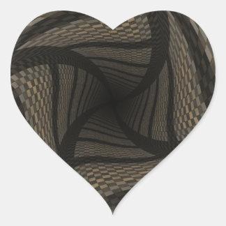 Fondo a cuadros marrón torcido 2 pegatina en forma de corazón