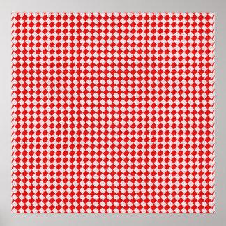 Fondo a cuadros rojo del mantel de la comida póster