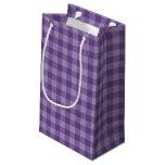 Fondo a cuadros violeta bolsa de regalo pequeña