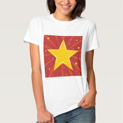 Fondo abstracto con la estrella roja t shirt