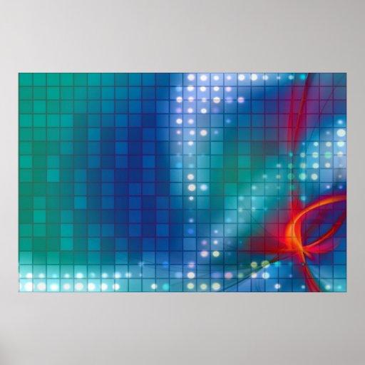 Fondo abstracto de la rejilla del fractal póster