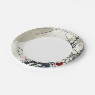 Fondo abstracto del grunge, textura de la tinta. 2 platos de papel