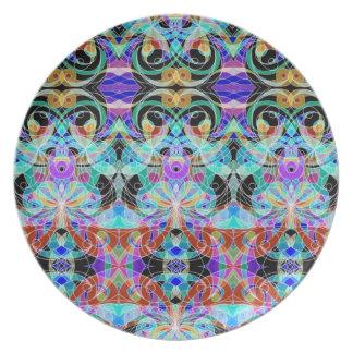 Fondo abstracto floral de la placa plato
