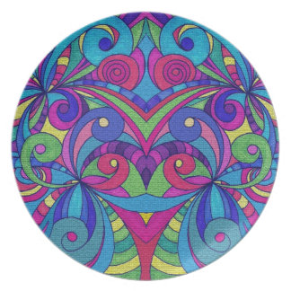 Fondo abstracto floral de la placa plato de cena