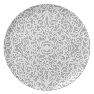 Fondo abstracto floral de la placa plato de comida