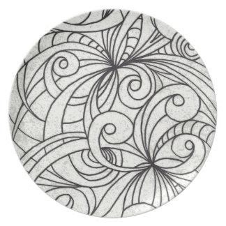 Fondo abstracto floral de la placa plato para fiesta