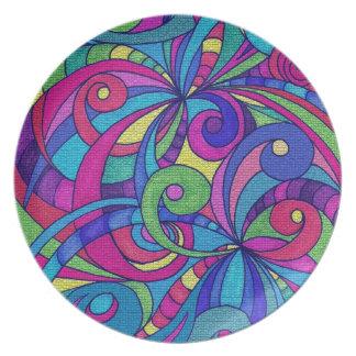 Fondo abstracto floral de la placa platos