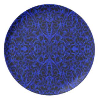 Fondo abstracto floral de la placa platos de comidas