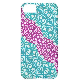 fondo abstracto floral del caso del iPhone 5C Funda Para iPhone 5C
