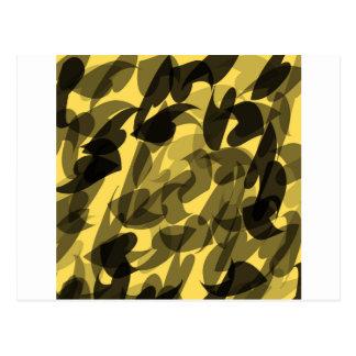 Fondo abstracto negro y amarillo con las hojas postales