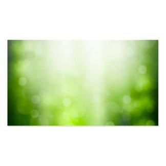 Fondo abstracto verde con Bokeh y los rayos de Sun Tarjetas De Visita