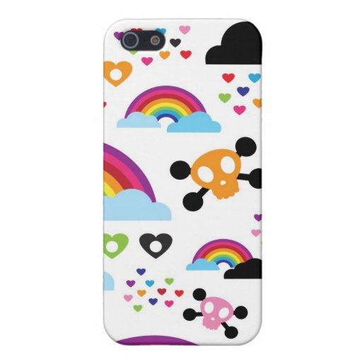 Fondo adolescente del cráneo del arco iris del emo iPhone 5 protector