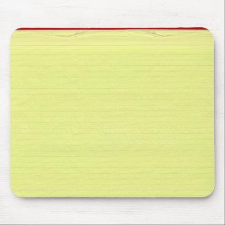 Fondo alineado amarillo del papel de escuela alfombrilla de ratones