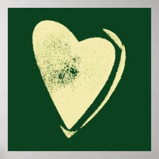 Fondo amarillo del verde del corazón póster
