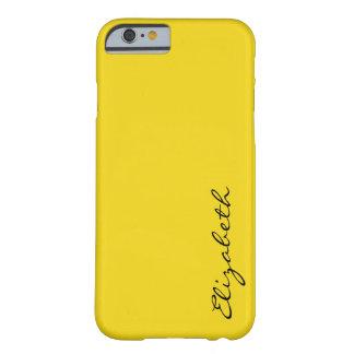Fondo amarillo llano funda de iPhone 6 barely there