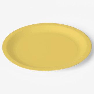 Fondo amarillo oscuro amarillo del sólido del plato de papel de 9 pulgadas