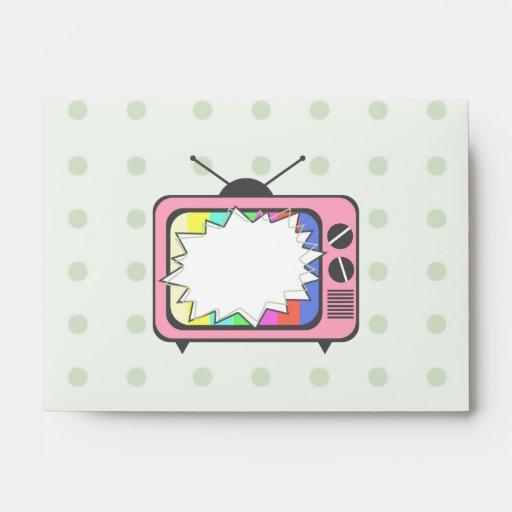 Fondo amarillo retro del rosa TV Sobre