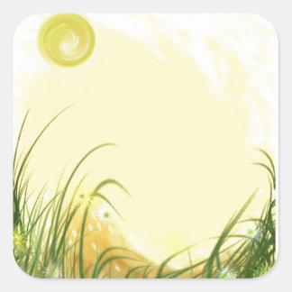 Fondo amarillo soleado de la fantasía calcomanías cuadradass