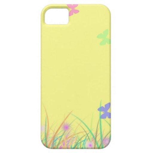 Fondo amarillo soleado de la mariposa iPhone 5 carcasa