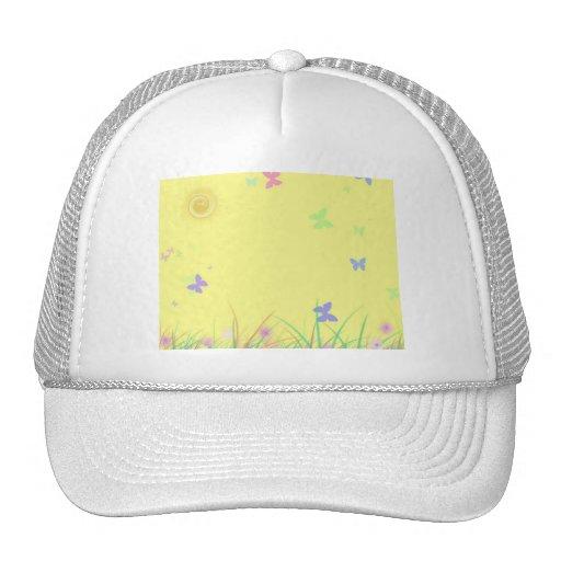 Fondo amarillo soleado de la mariposa gorro