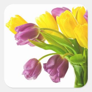 Fondo amarillo y púrpura de los tulipanes pegatina cuadrada