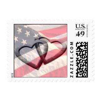 Fondo americano de encargo del franqueo del boda sellos postales