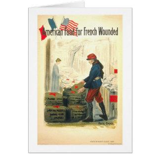 Fondo americano para el francés herido tarjeta de felicitación
